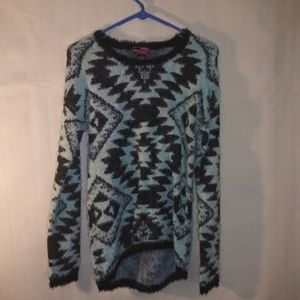nice fuzzy say what? sweater high low detail med
